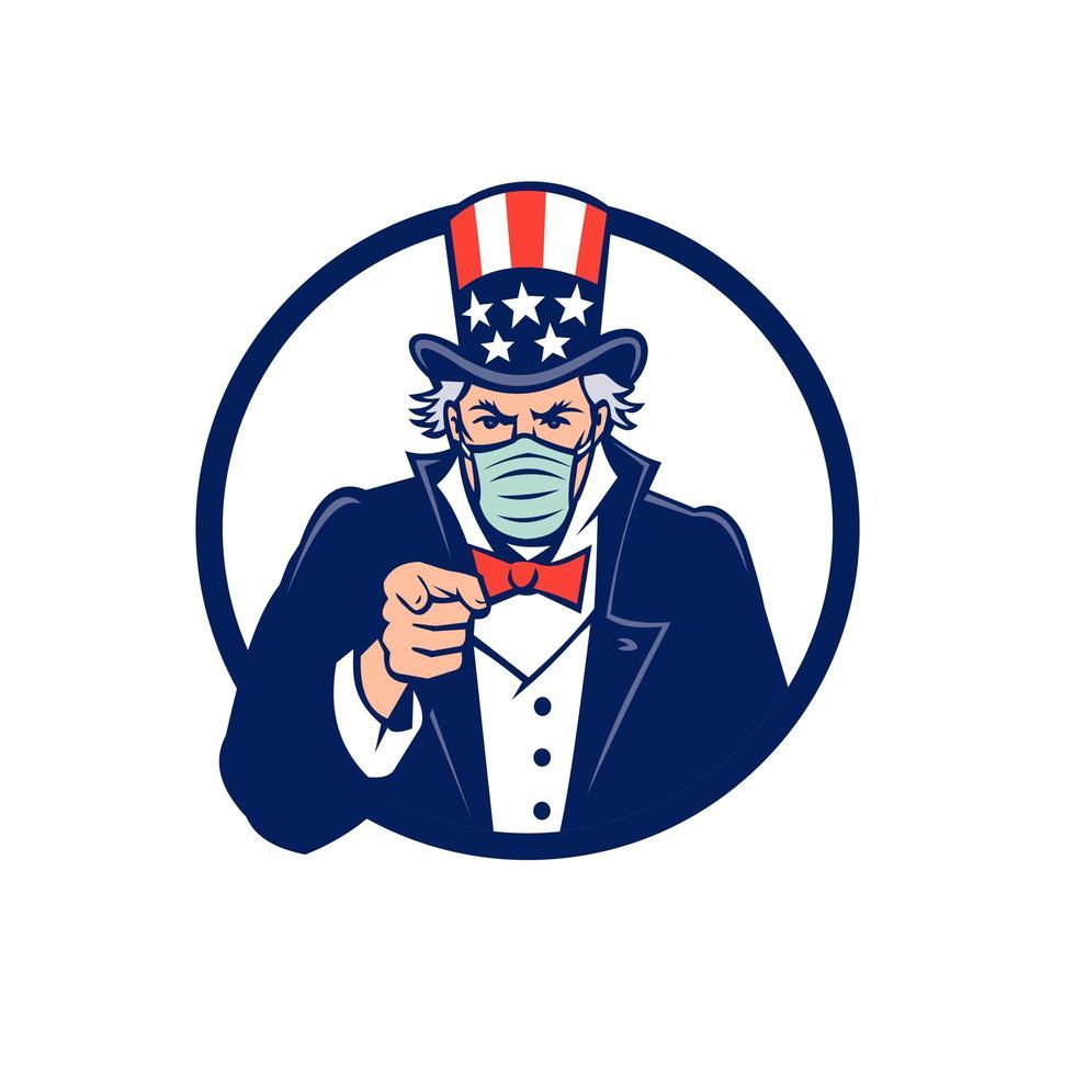 Onkel Sam trägt Maske zeigt Maskottchen Emblem vektor