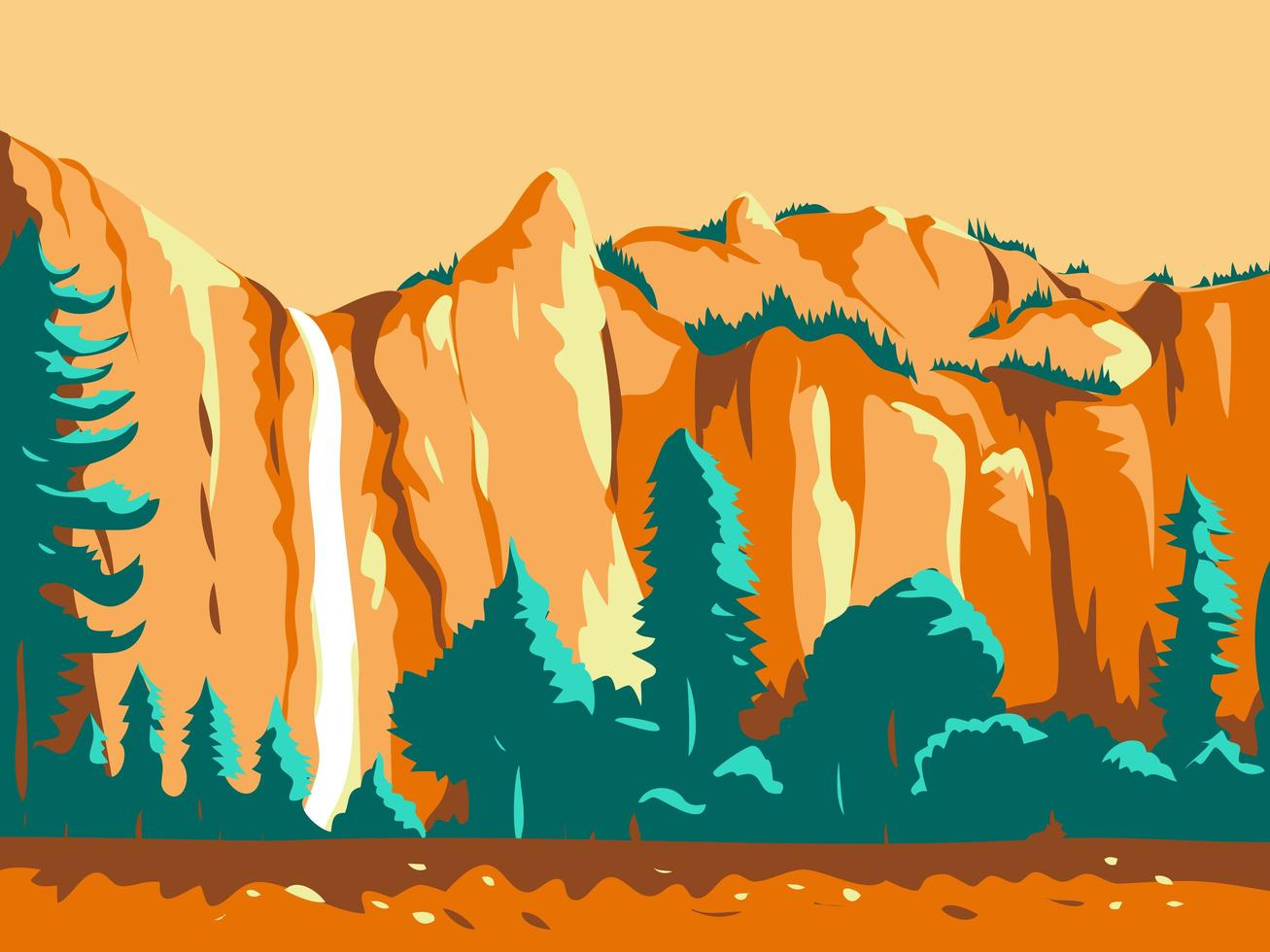 Wasserfall in Kalifornien Retro Poster vektor