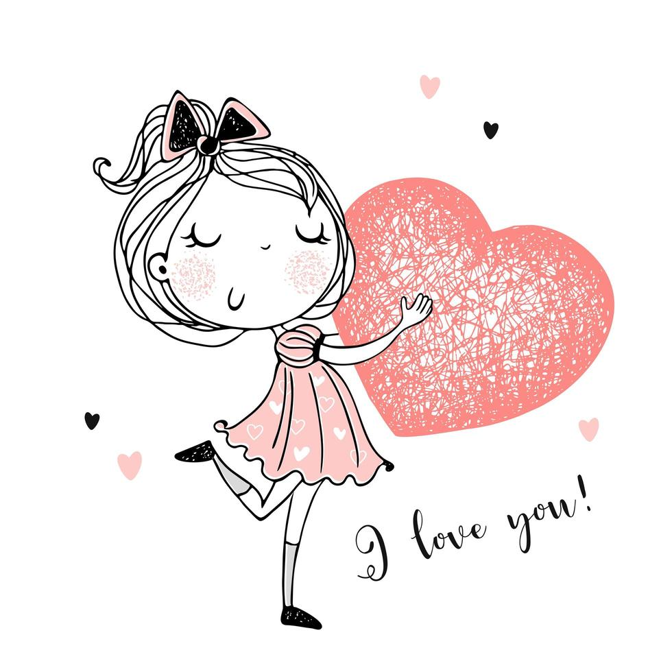 ein süßes Mädchen mit einem großen Herzen in den Händen. vektor