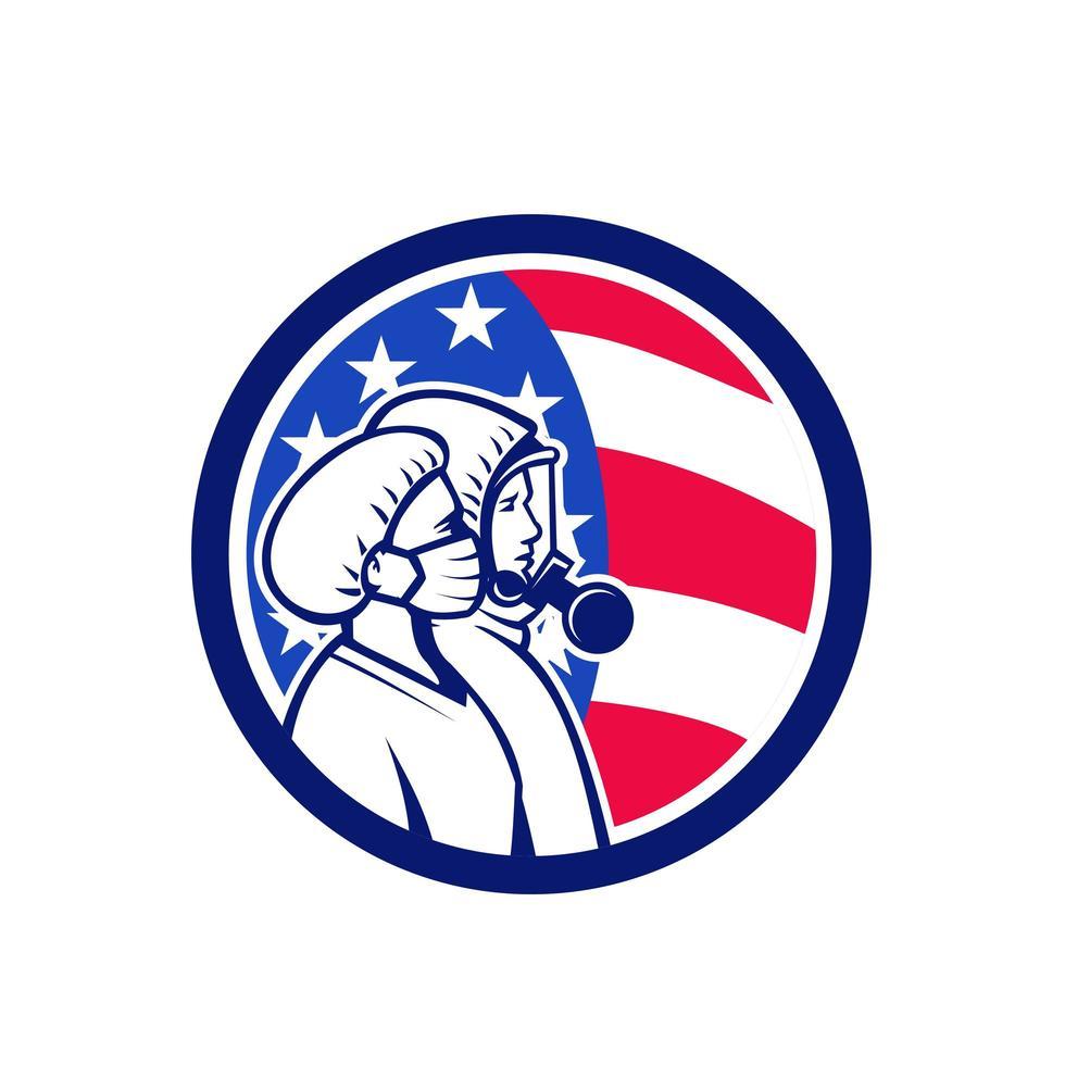 amerikanska sjukvårdspersonal som hjältar cirklar retro emblem vektor
