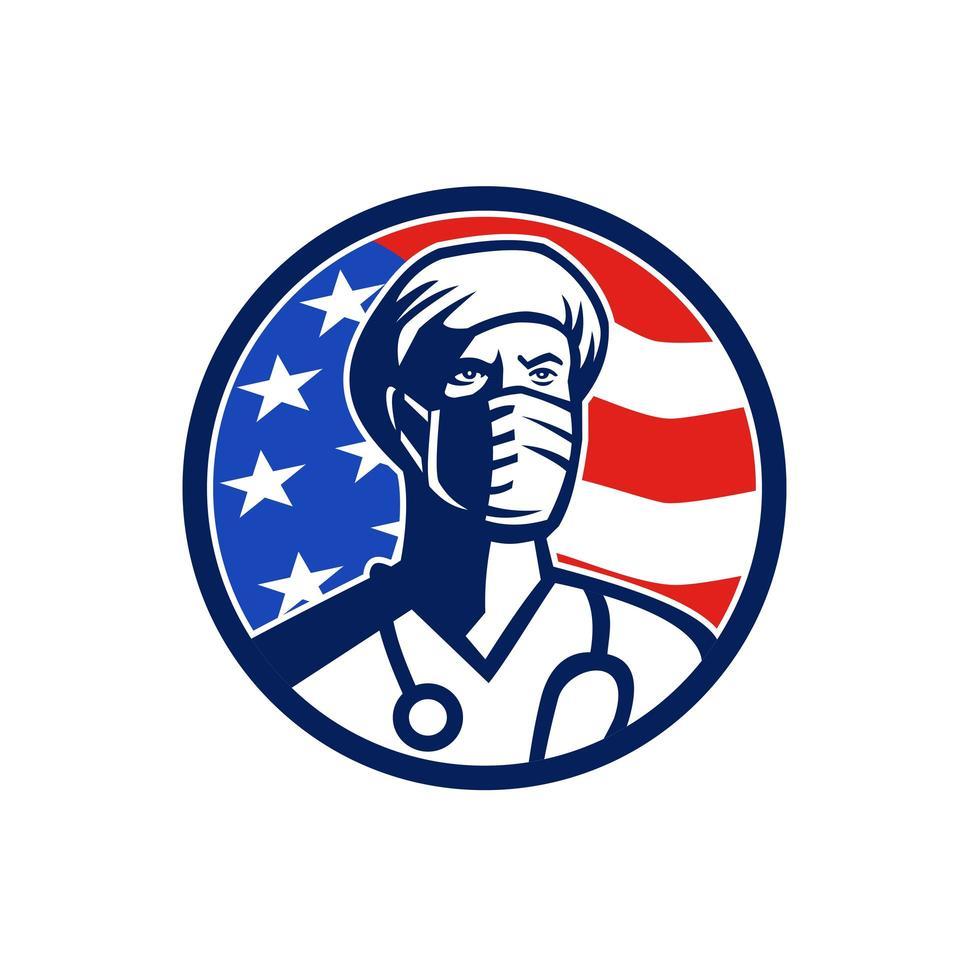 amerikansk läkare kirurgisk mask usa flagg cirkel emblem vektor