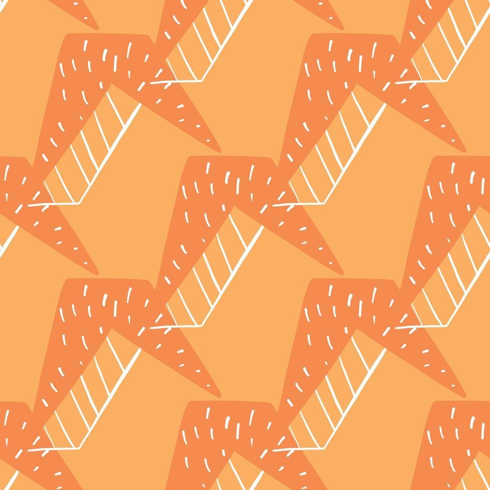 vektor sömlös textur bakgrundsmönster. handritade, orange, vita färger.