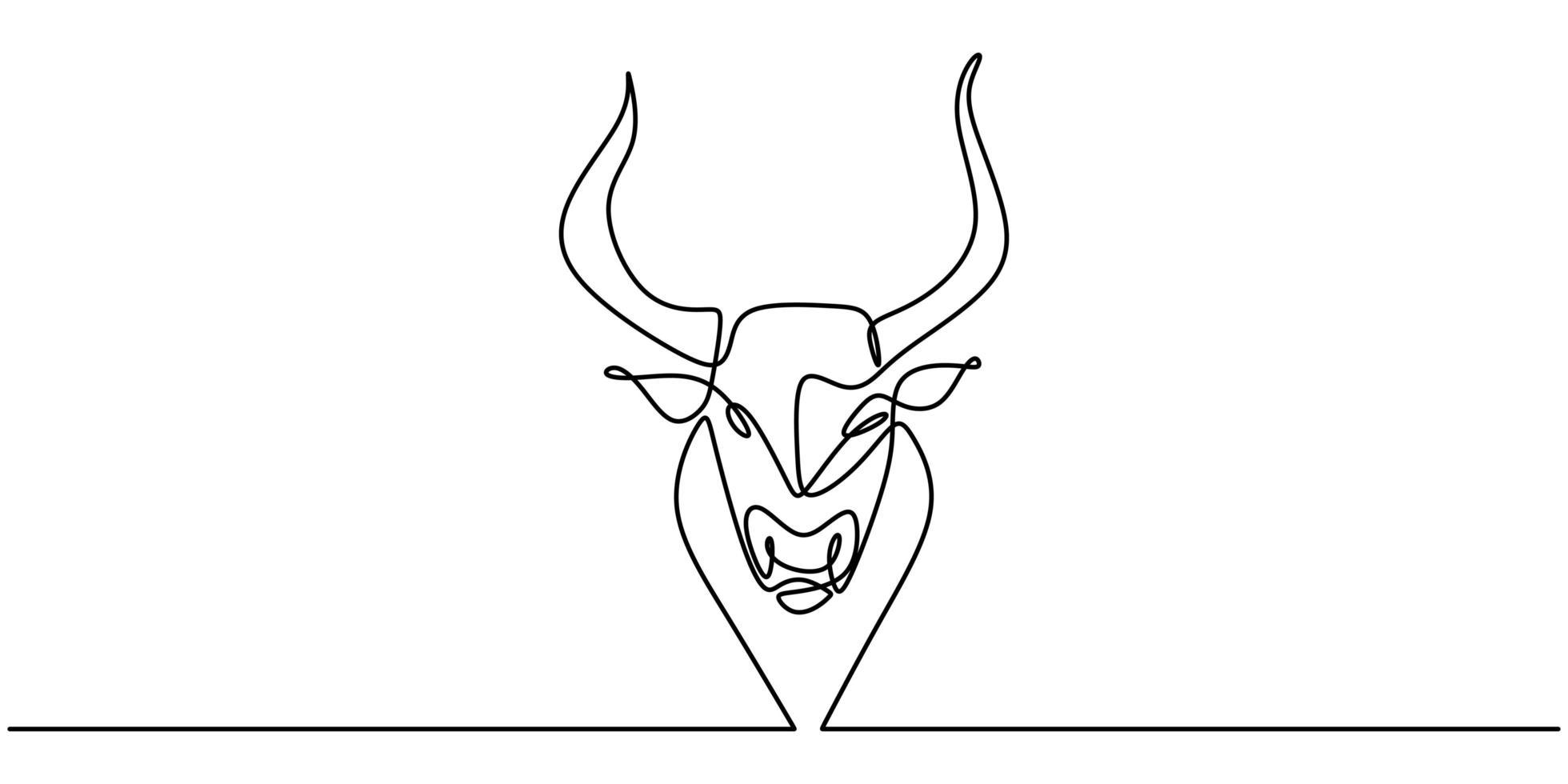 kontinuerlig en linje ritning tjur ko. bevarande av hotade djur nationalpark. vektor