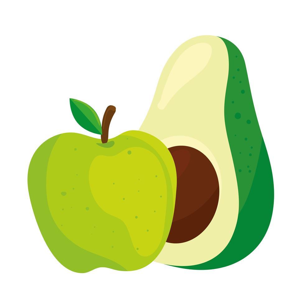 färsk frukt och grönsaker, äpplegrön och avokado, i vit bakgrund vektor