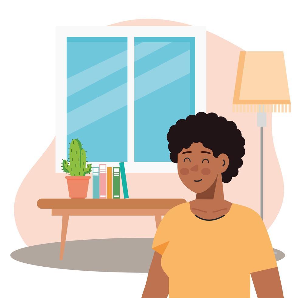 Mann Afro in der Wohnzimmer Szene vektor