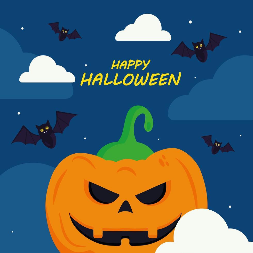 glückliches Halloween mit Kürbiskarikaturvektorentwurf vektor