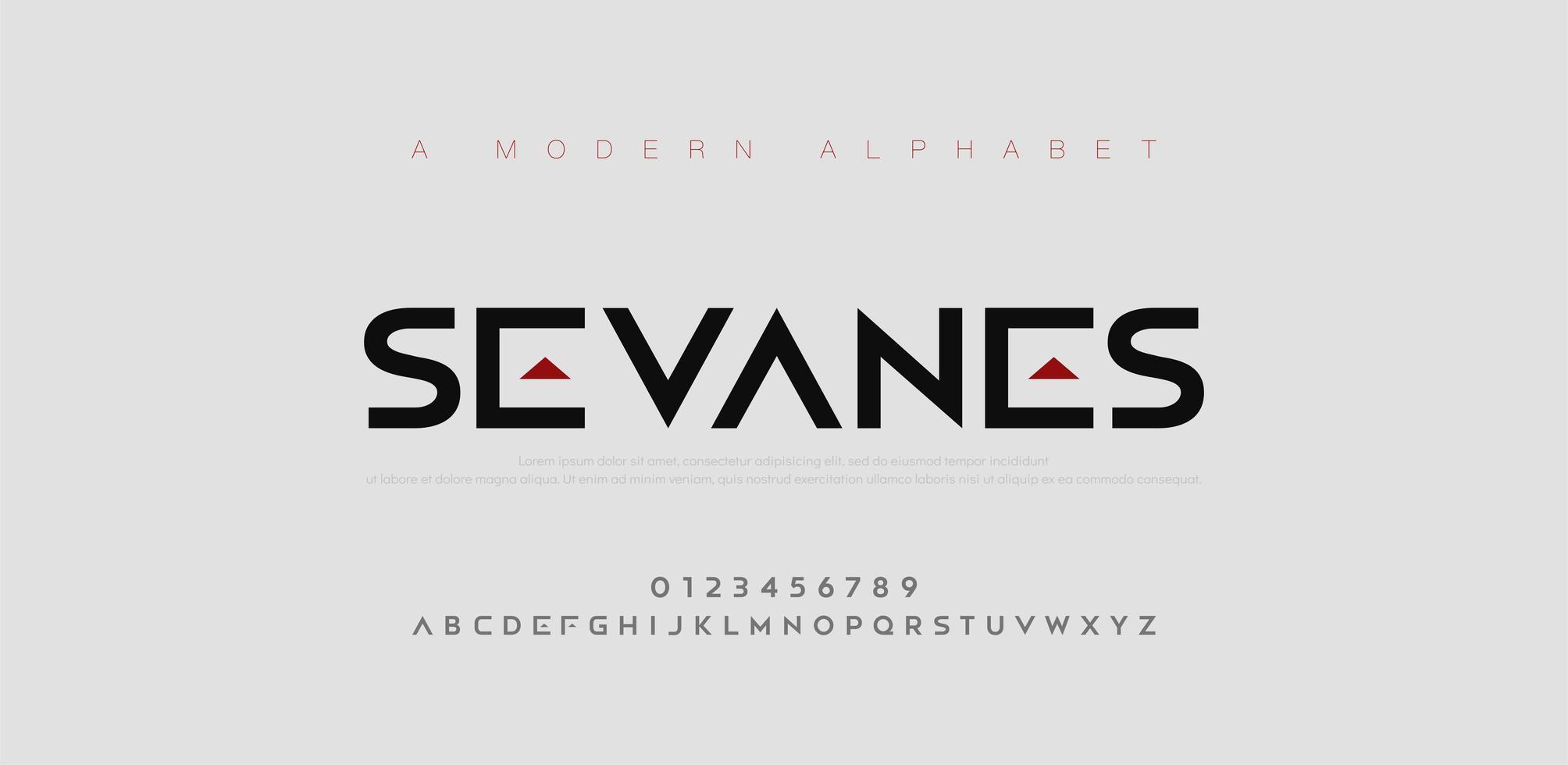 abstrakta moderna urbana alfabetsteckensnitt vektor