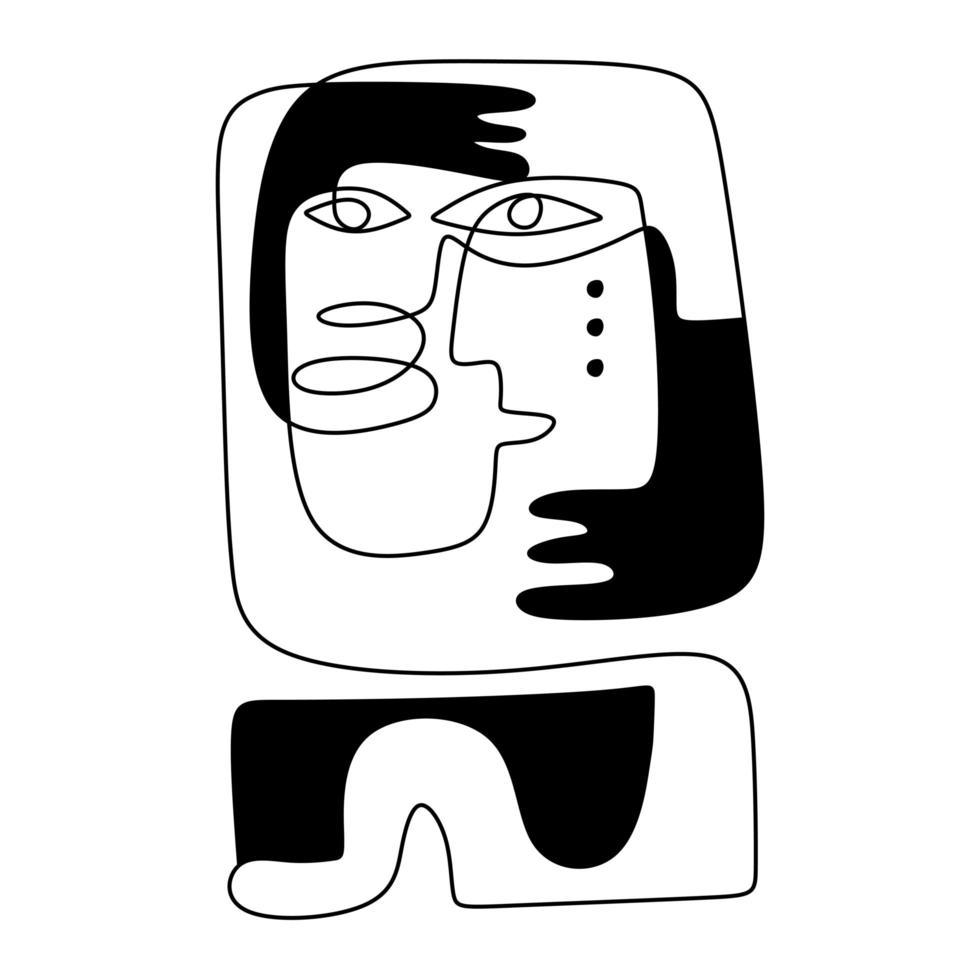 stamfolk abstrakt infödda azteker. kontinuerlig en linje ritning, minimalism svartvitt. vektor
