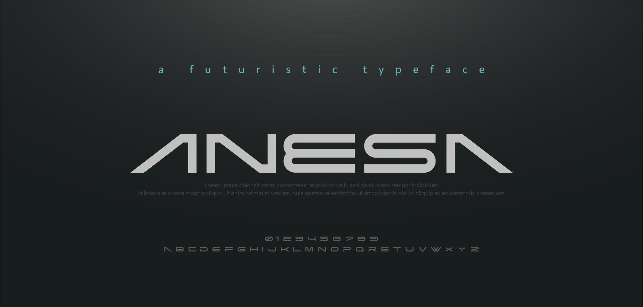 abstrakt teknik utrymme teckensnitt och alfabetet vektor