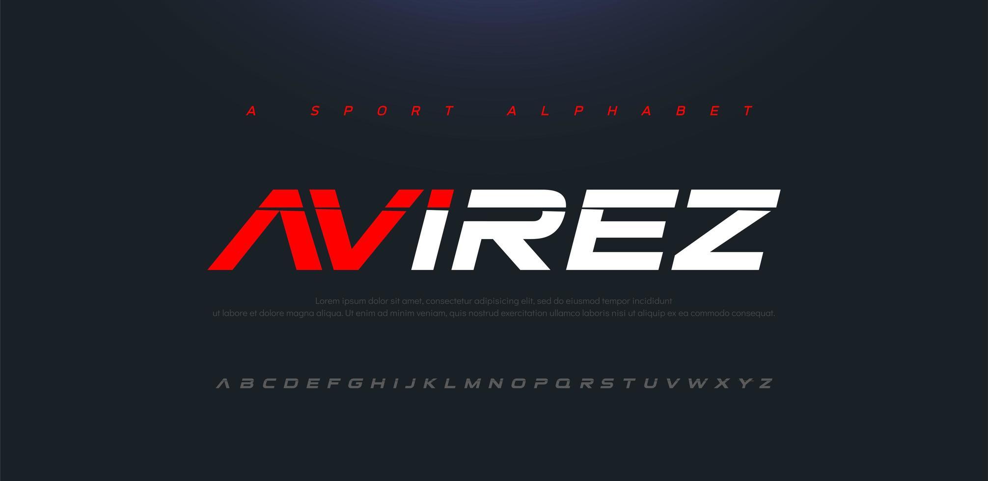 sport modern framtid kursiv alfabetet teckensnitt vektor