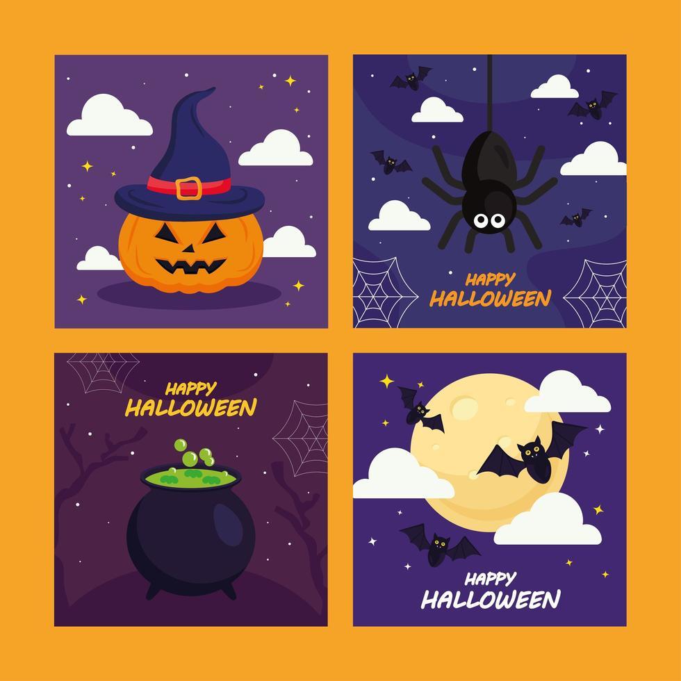 Halloween Kürbis Spinne und Fledermaus Cartoons Vektor-Design vektor