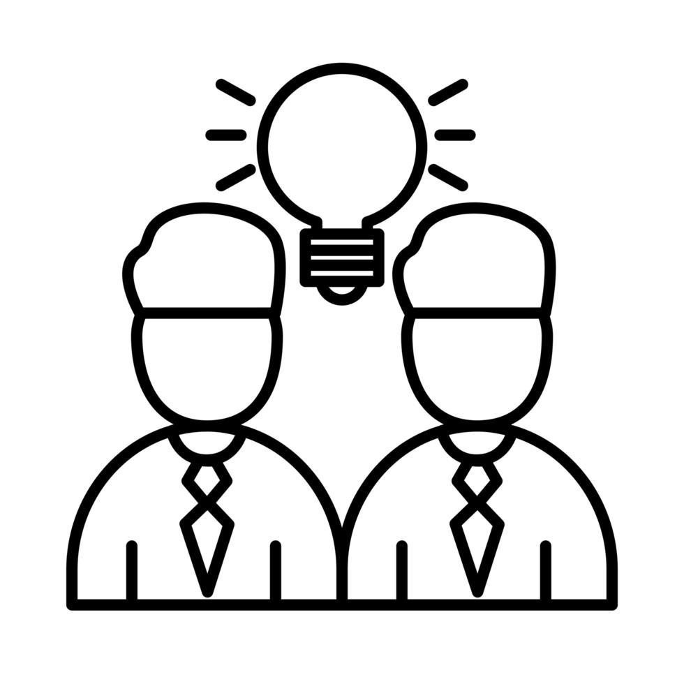 kollegor män med glödlampa linje stil ikon vektor design