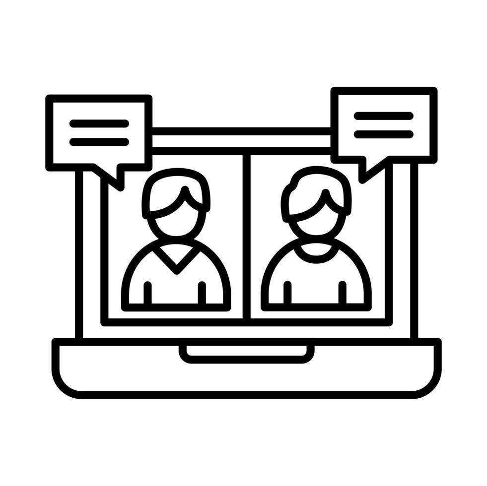 kollegor män i laptop med bubblor linje stil ikon vektor design
