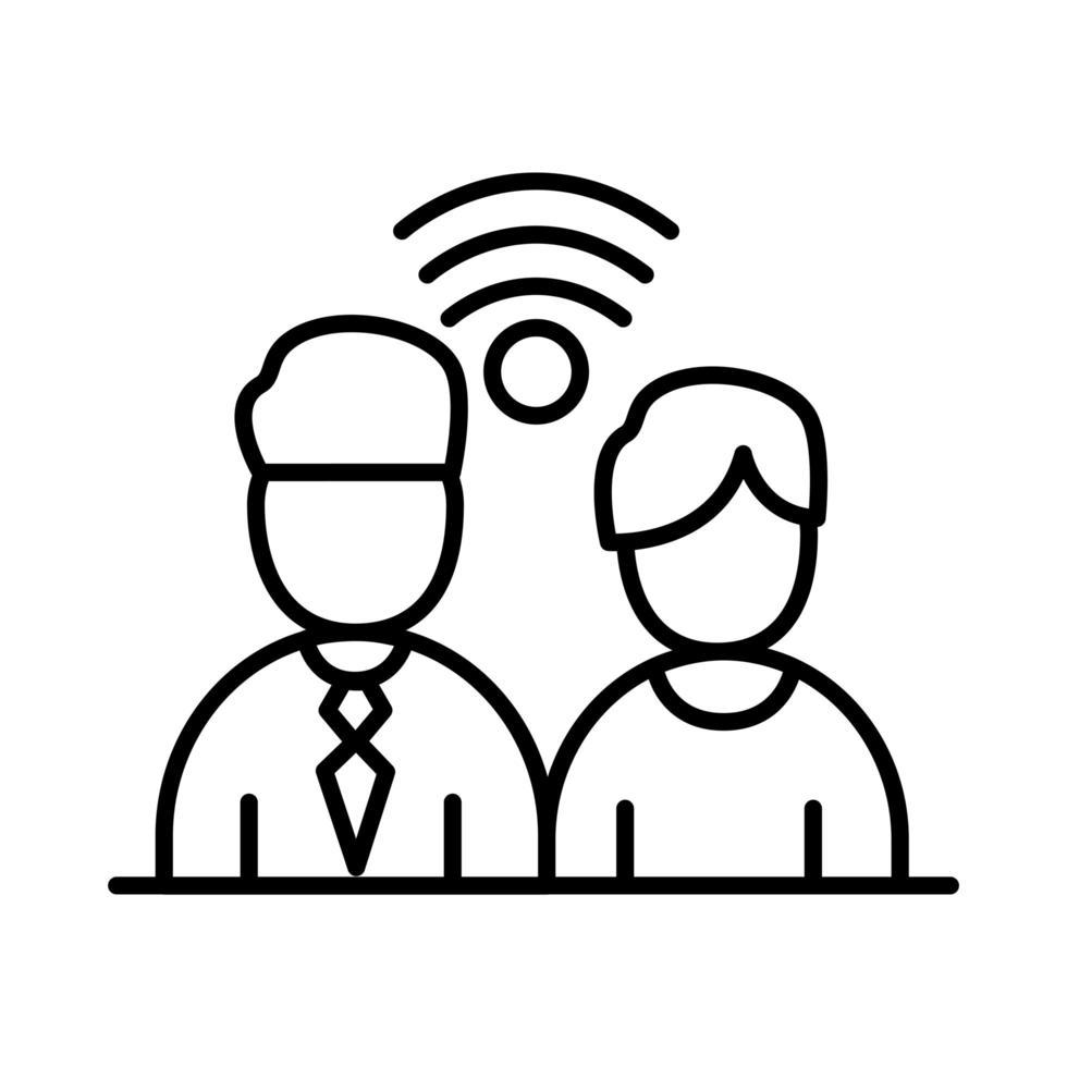 kollegor män med wifi-linje stil ikon vektor design