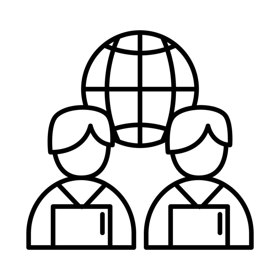 kollegor män med bärbara datorer och global sfär linje stil ikon vektor design