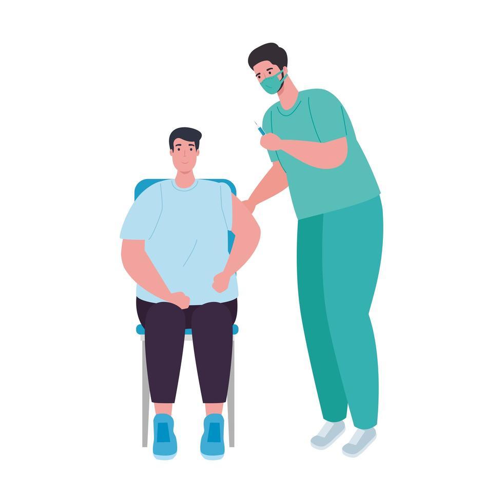 Arzt Mann mit Maske Patient und Covid 19 Impfstoffinjektionsvektor Design vektor