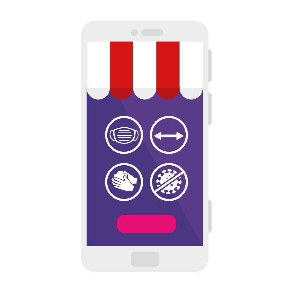 covid 19 virus ikonuppsättning på smartphone med tältvektordesign vektor