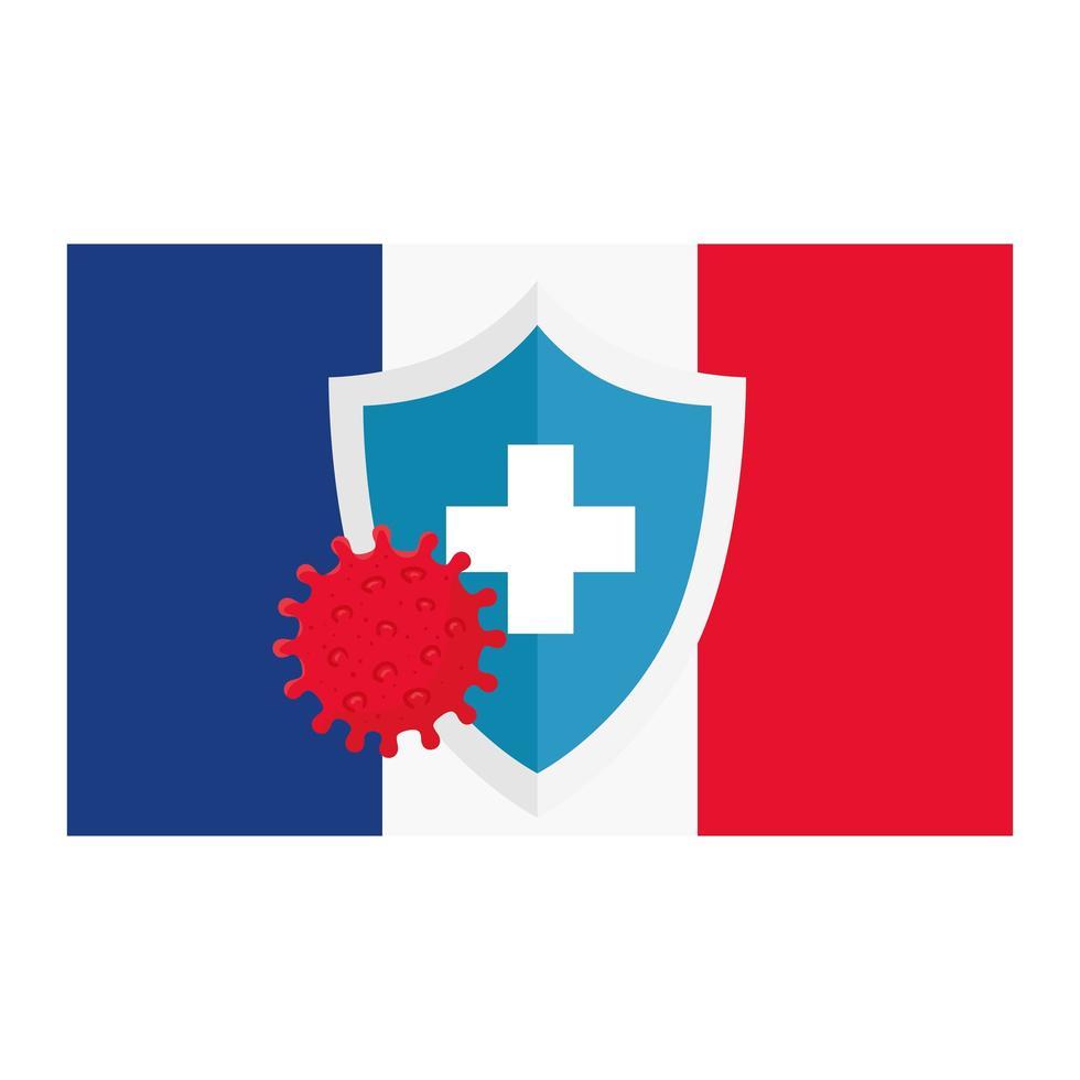 Covid 19-Virus mit Kreuzschild im Vektor-Design der französischen Flagge vektor
