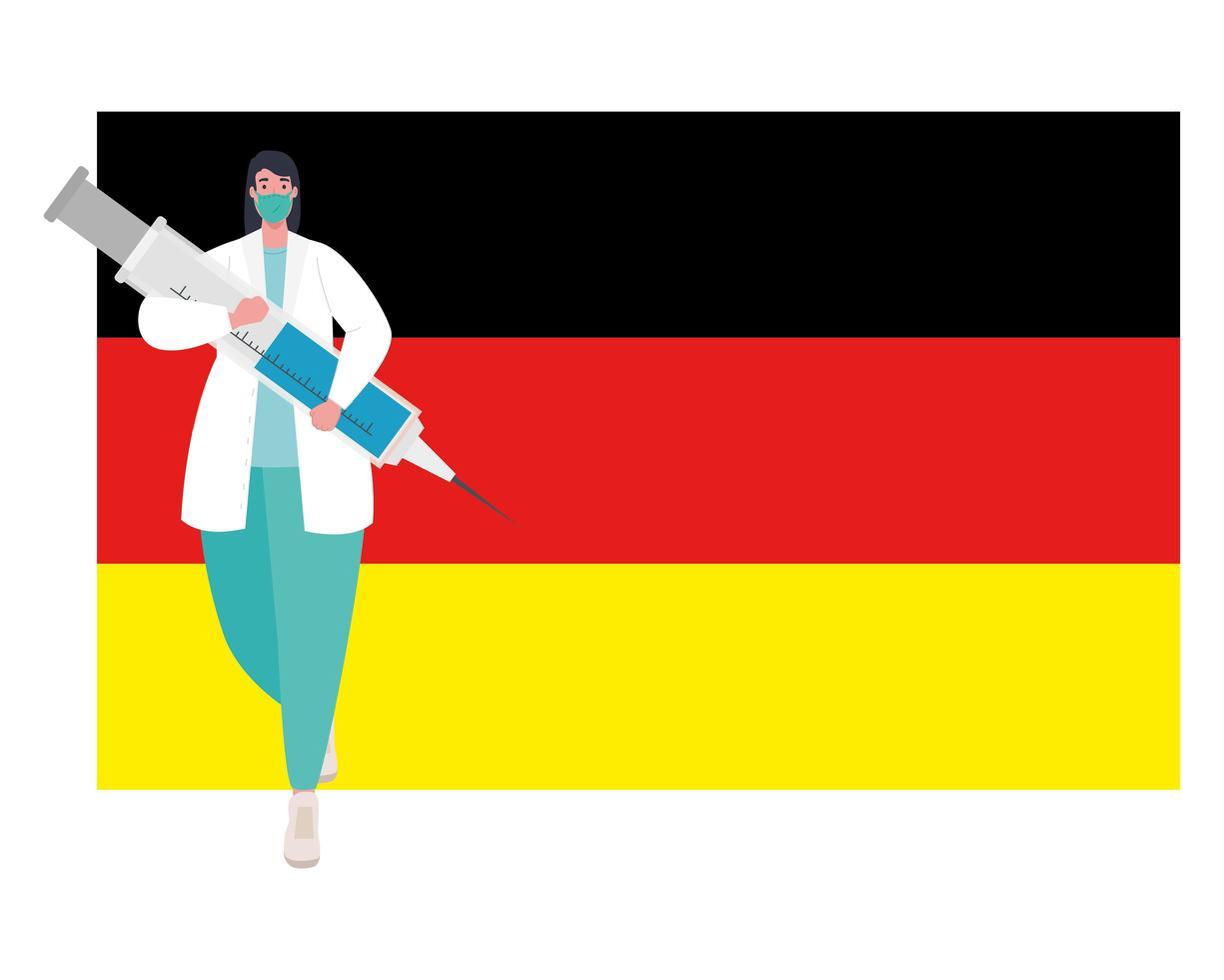 Doktor Mann mit Maske und Covid 19 Impfstoffinjektion auf Deutschland Flagge Vektor-Design vektor