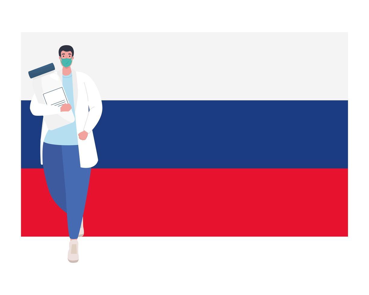 Arzt Mann mit Maske und Covid 19 Impfstoffflasche auf Rusia Flag Vektor Design