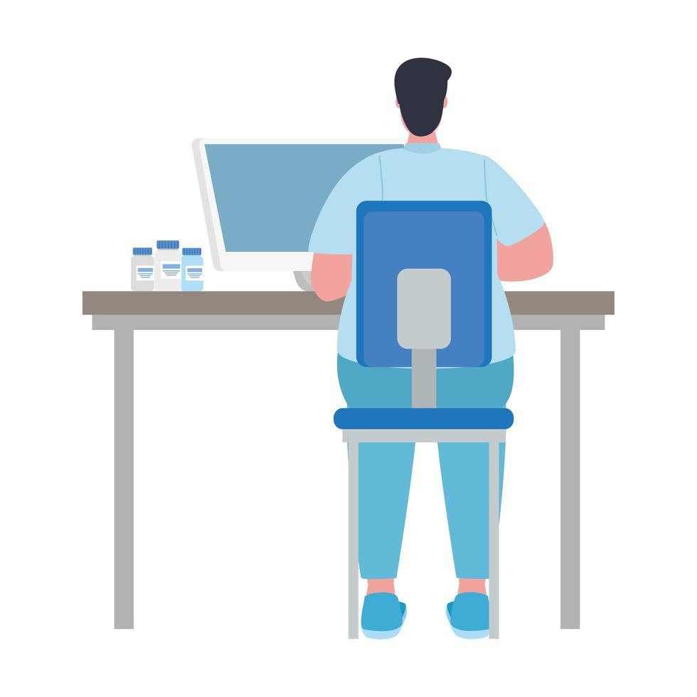 Arzt Mann mit Covid 19 Impfstoff Bottes am Schreibtisch Vektor-Design vektor