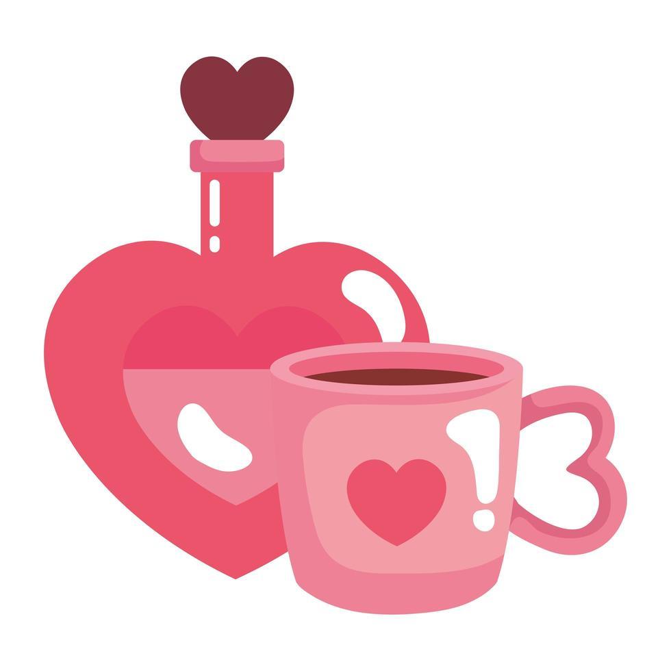 kopp kaffe och doft med hjärtflaska vektor