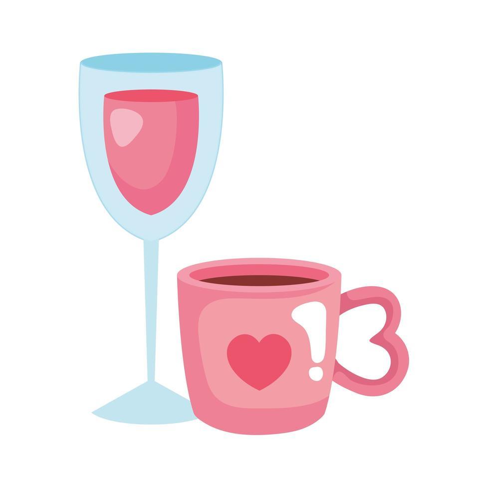 kopp kaffe och koppglas med vin vektor