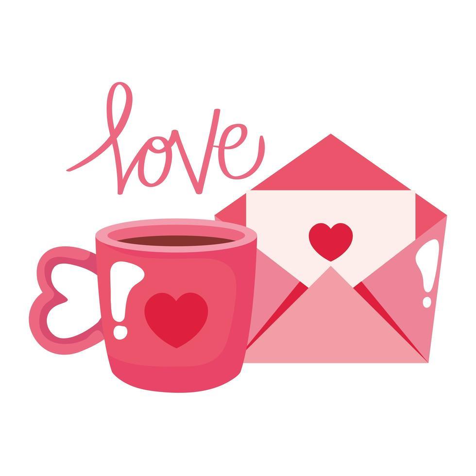 kopp kaffe och kuvert isolerad ikon vektor