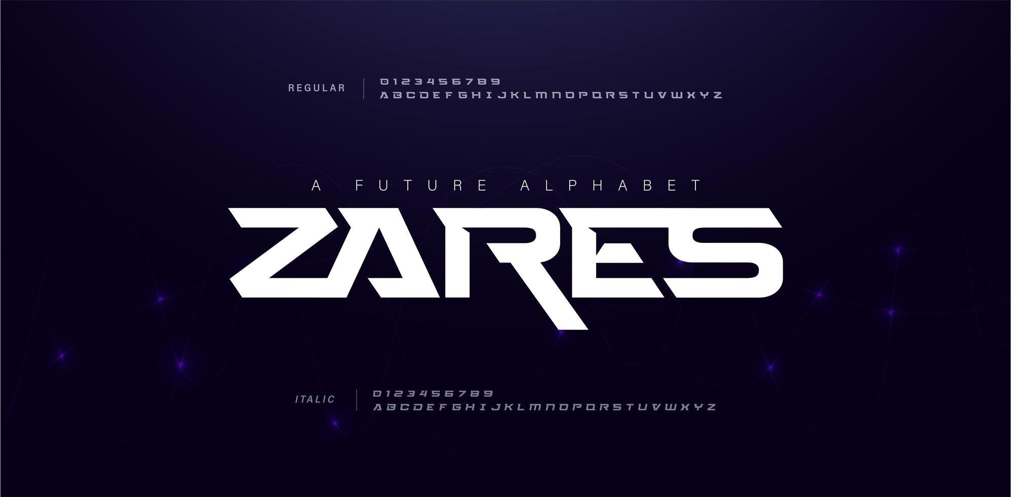 sport modern framtida alfabetet teckensnitt vektor