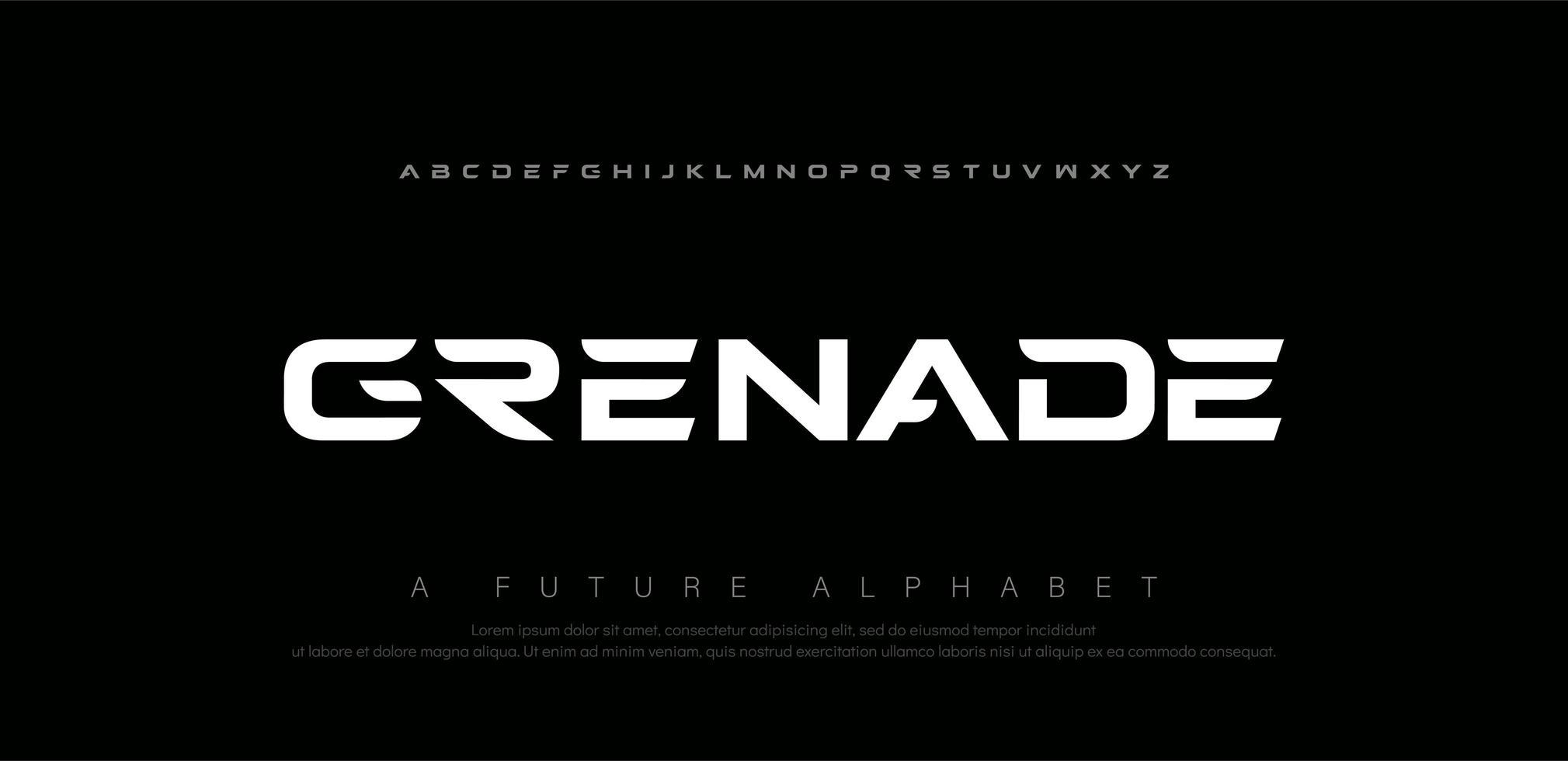 sport digitala moderna alfabetet teckensnitt vektor