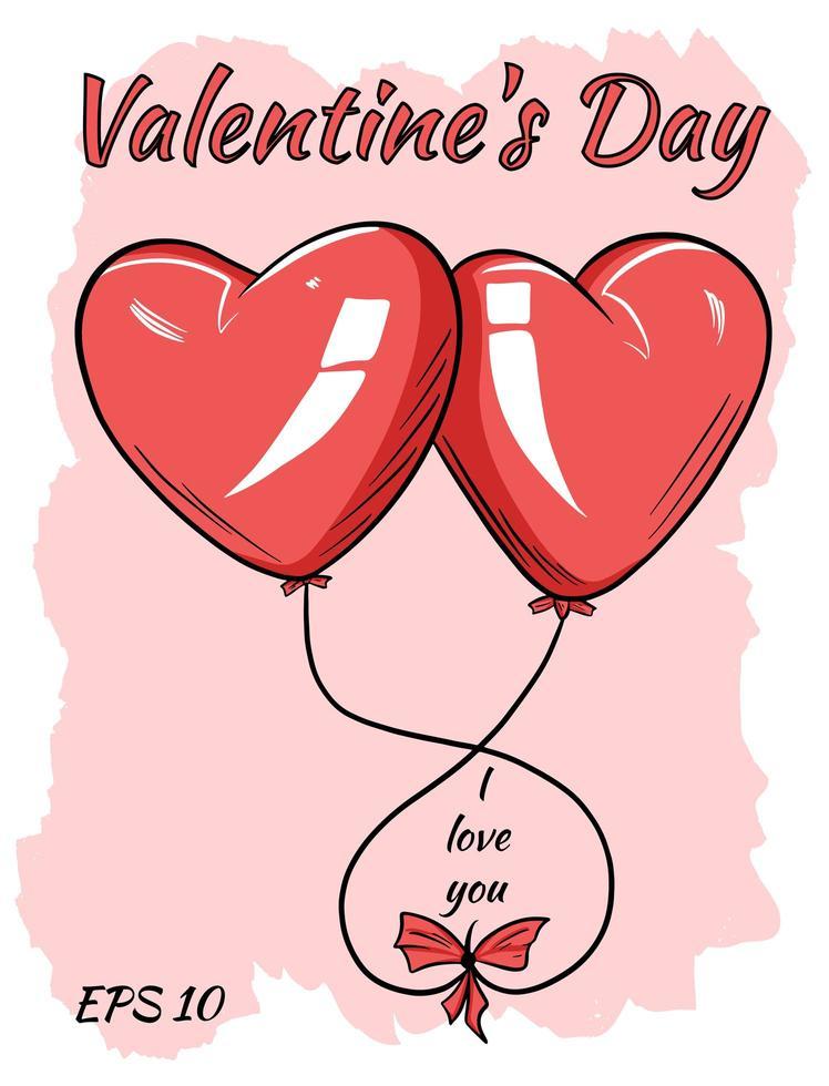 röda ballonger i form av ett hjärta. vektor