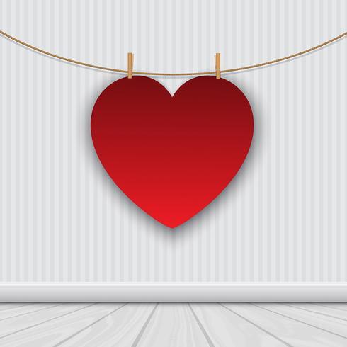 Alla hjärtans dag bakgrund med hängande hjärta vektor