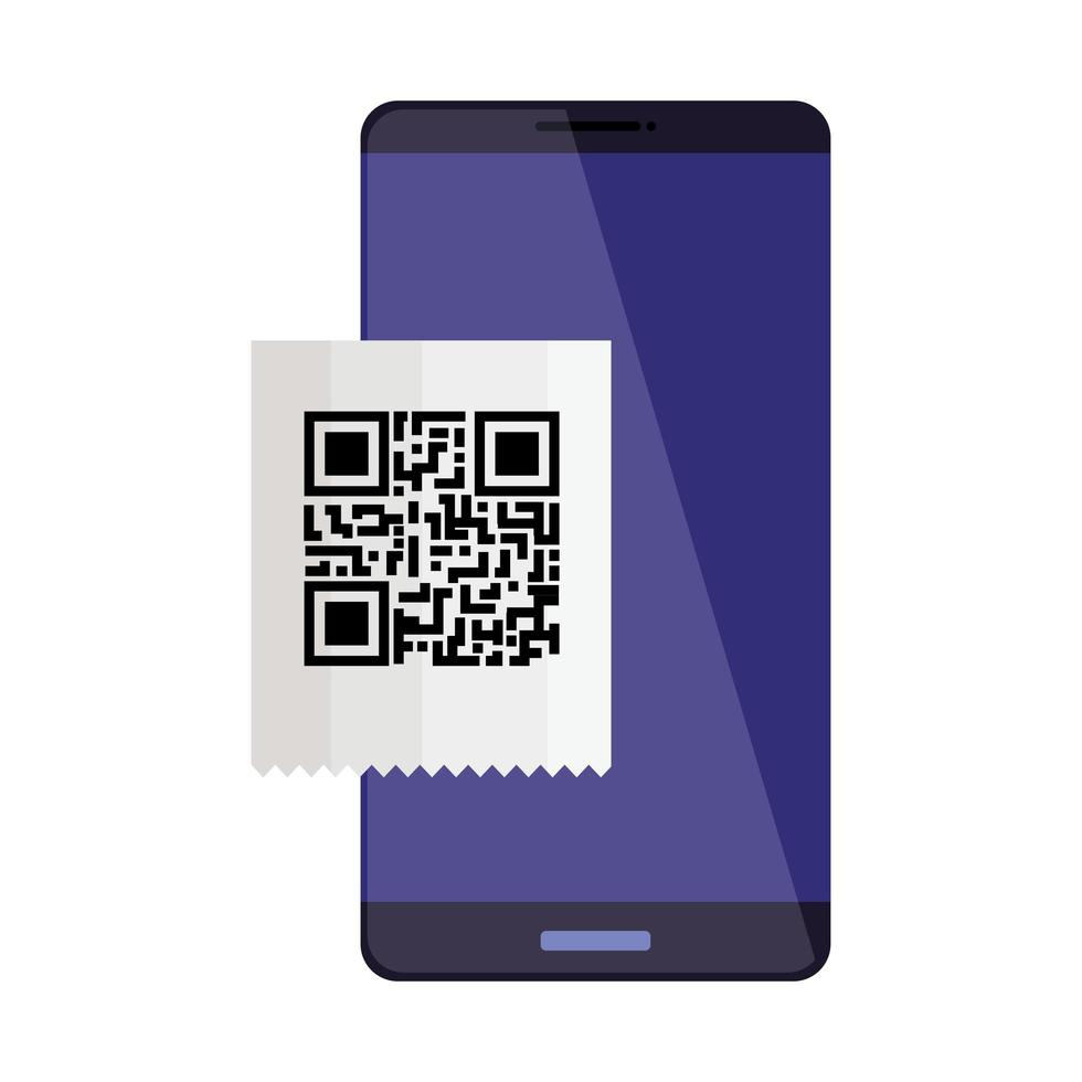 smartphone-enhet med skanningskod qr vektor