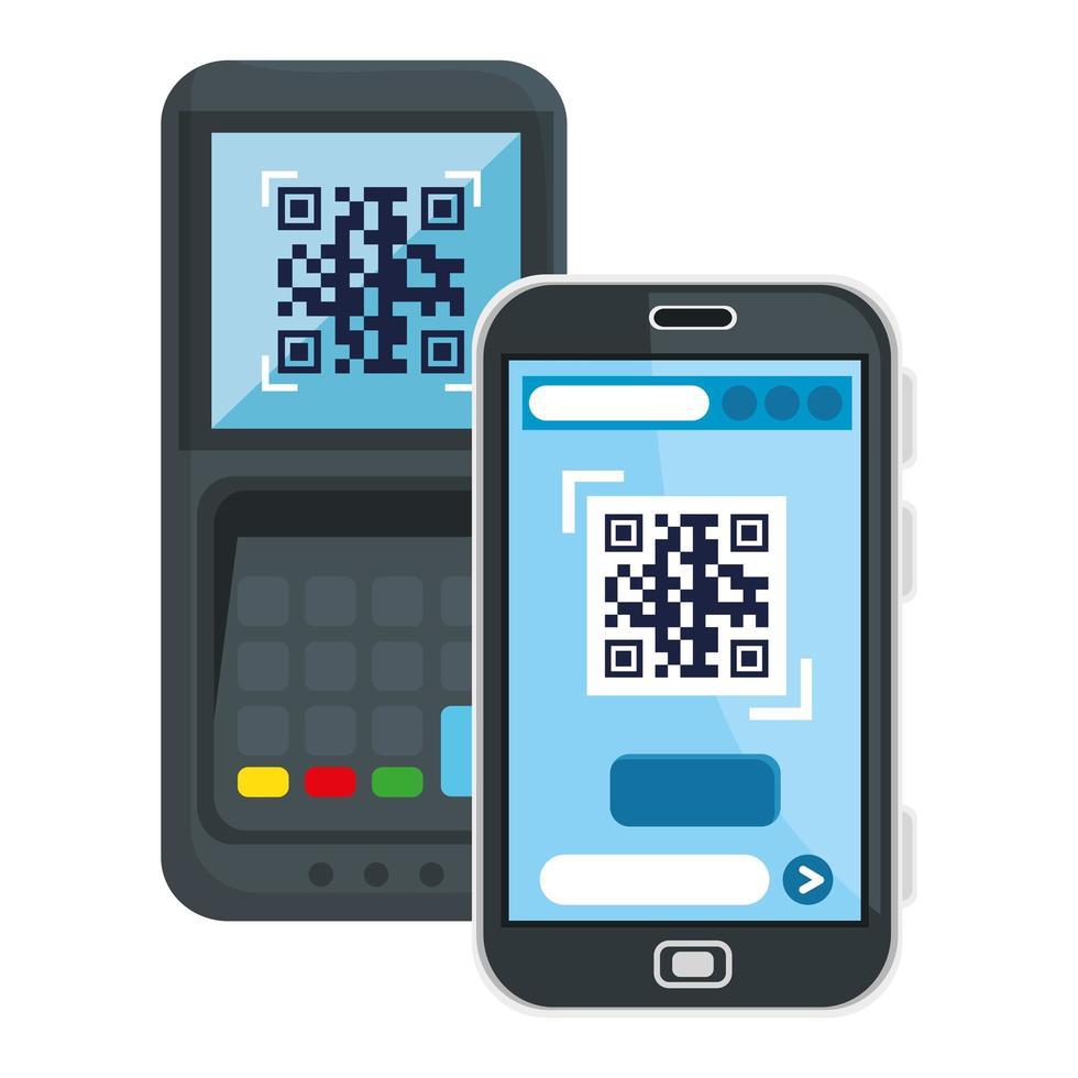 QR-Code im Datentelefon- und Smartphone-Vektor-Design vektor