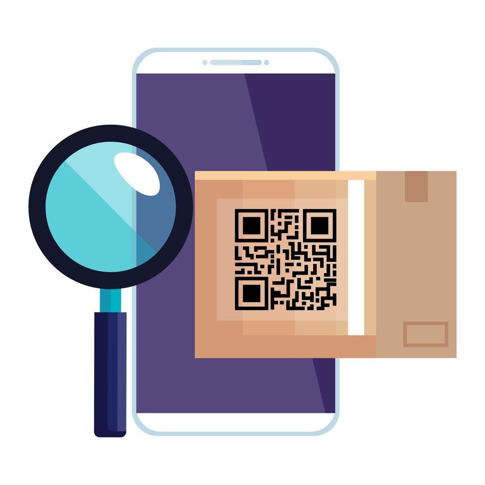 qr Code Box und Lupe und Smarpthone Vektor Design