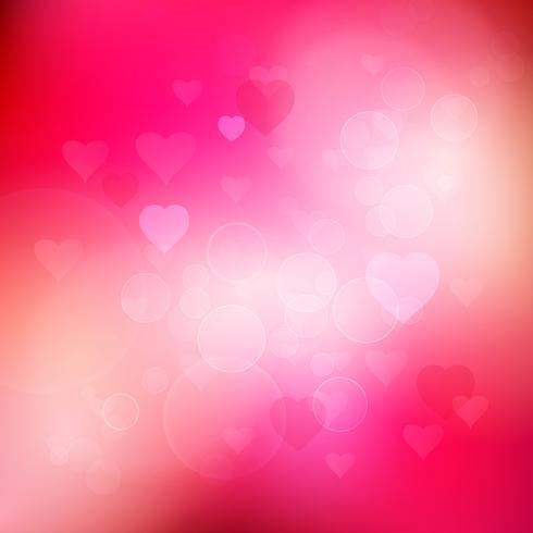 Bokeh hjärtan bakgrund vektor