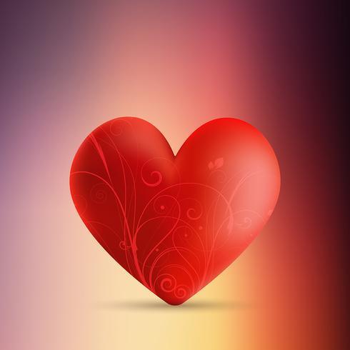 Alla hjärtans dag bakgrund med dekorativt hjärta på oskärpa backgro vektor
