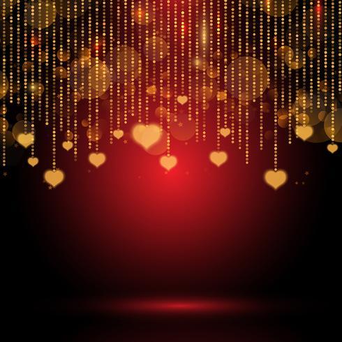 Alla hjärtans dag bakgrund med hängande hjärtan vektor