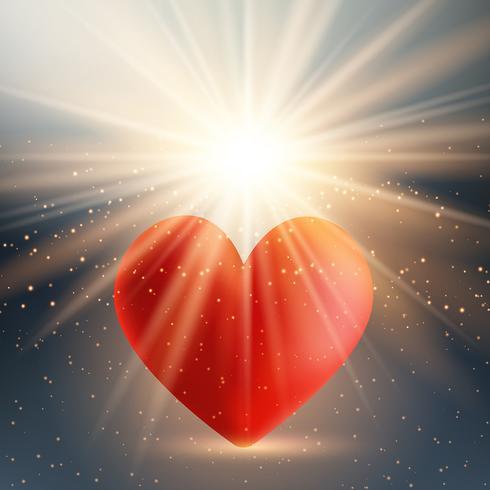 Alla hjärtans dag hjärta på starburst bakgrund vektor