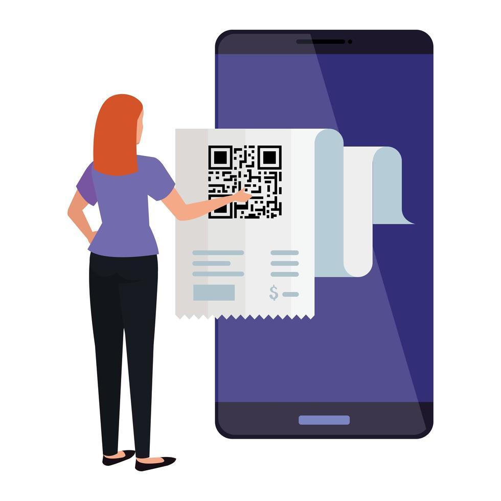 affärskvinna och smartphone-enhet med skanningskod qr vektor