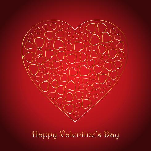 Alla hjärtans dag bakgrund med dekorativa guld hjärtan design vektor