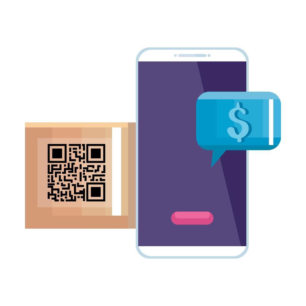 qr Code Box und Smarpthone Vektor Design
