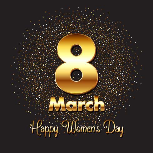 Guld kvinnors dag bakgrund vektor