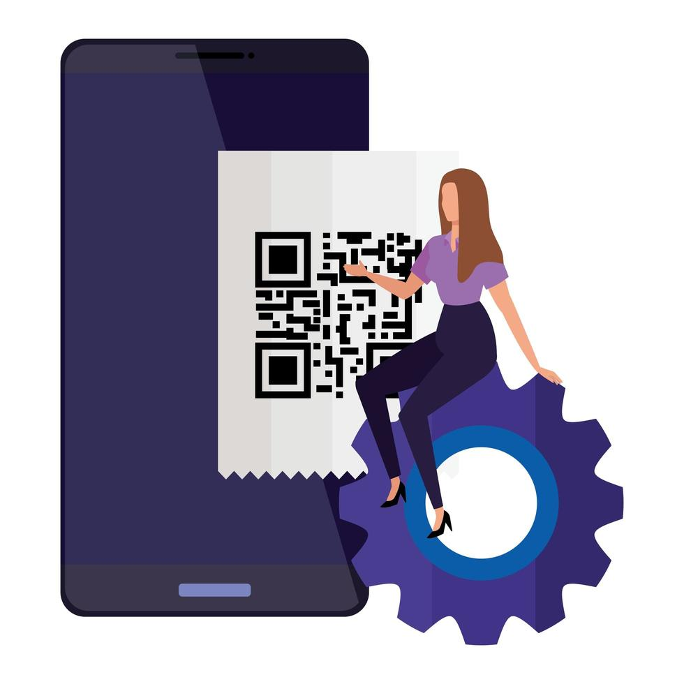 skanna kod qr i smartphone med affärskvinna och redskap vektor