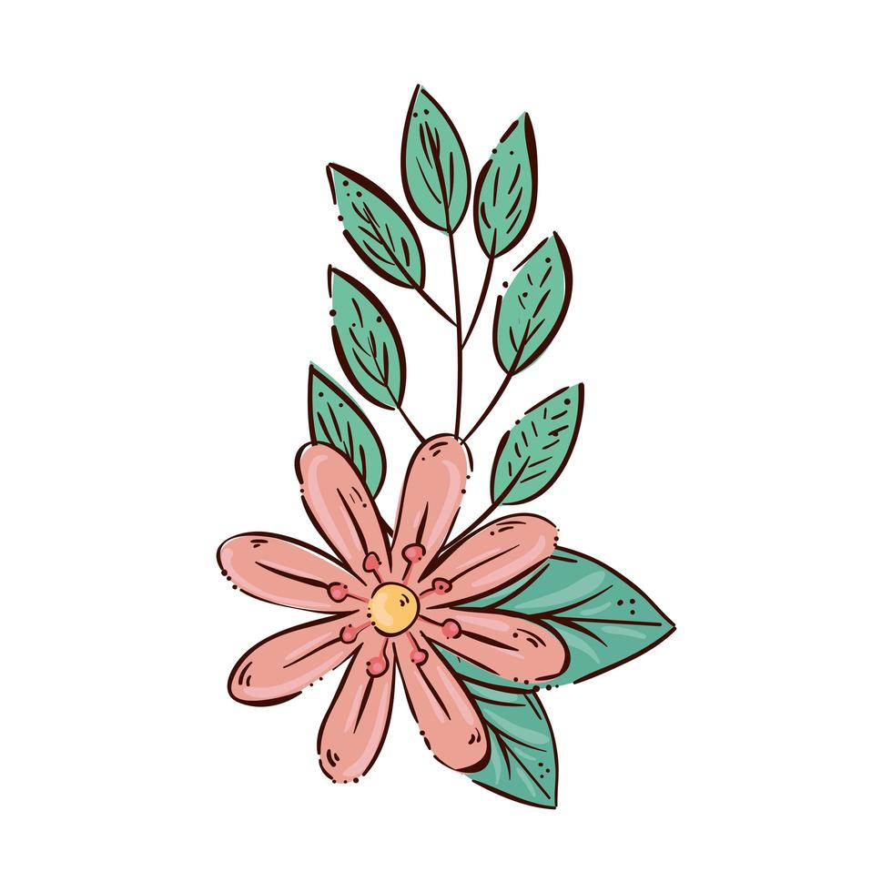 söt blomma med grenar och blad vektor