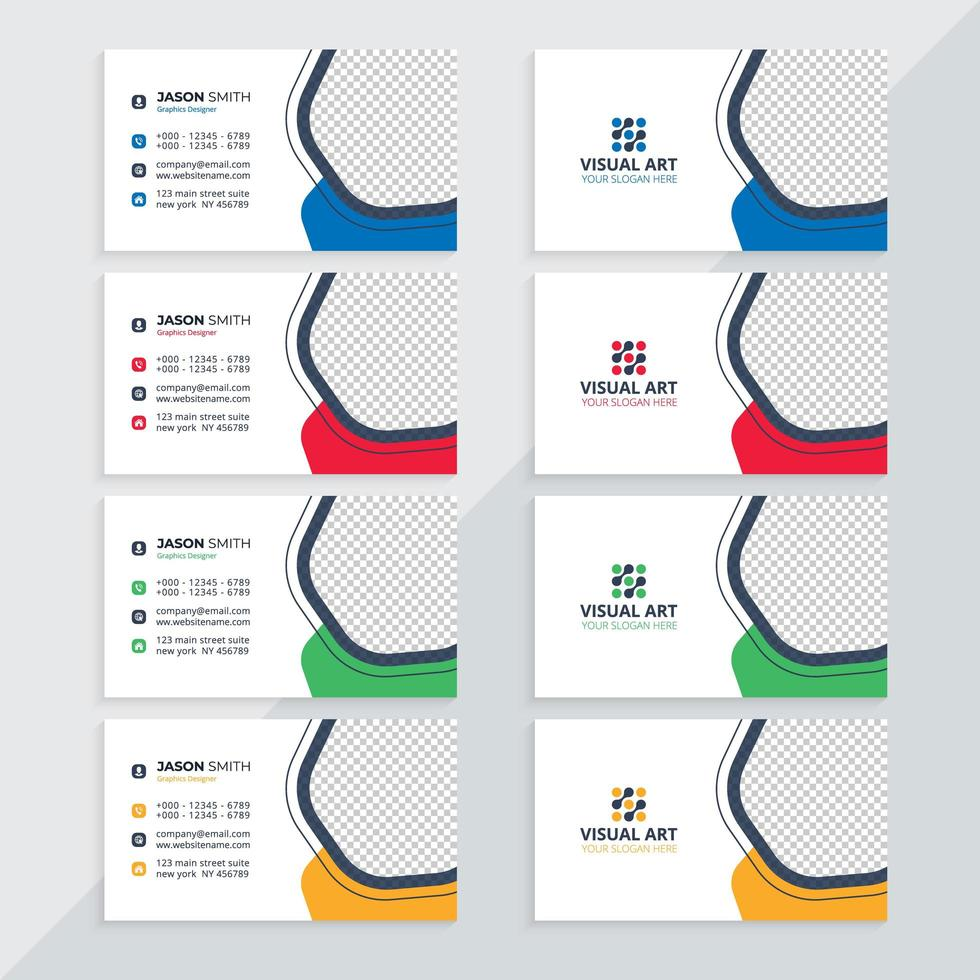 Visitenkartenvorlage mit verschiedenen Farben vektor