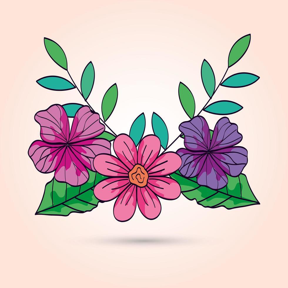 süße Blumen mit Zweigen und Blättern vektor