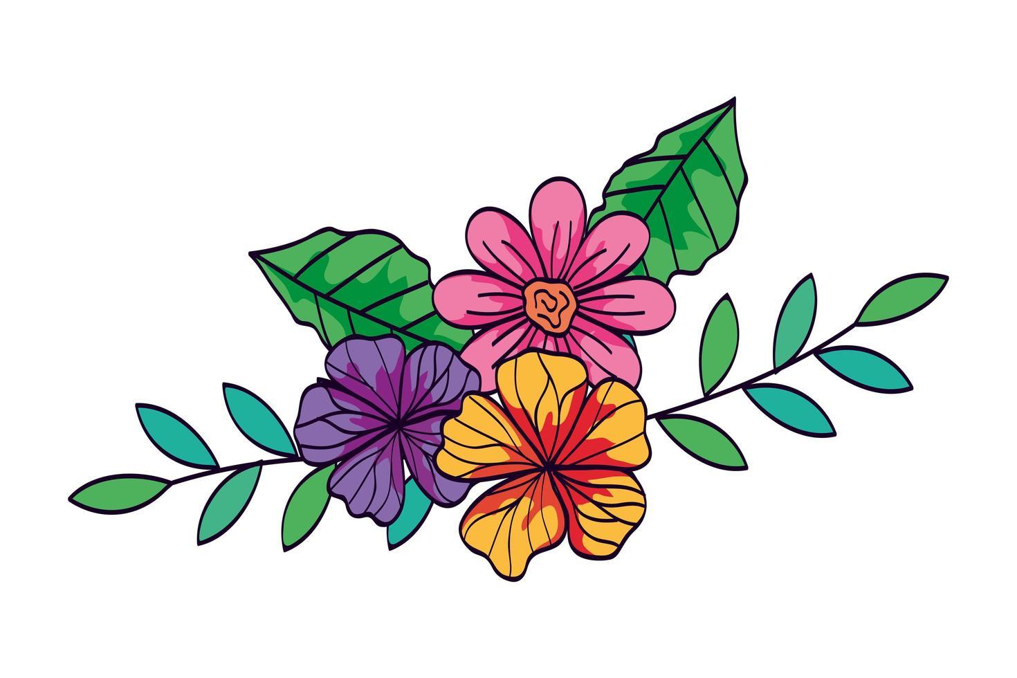 söta blommor med grenar och blad vektor