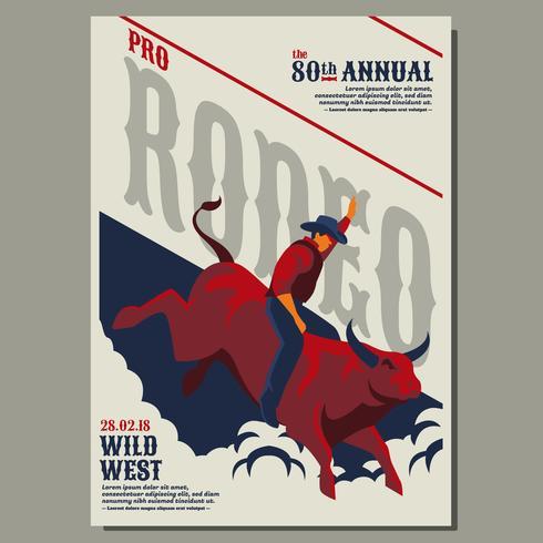Wilder Westen mit Cowboy-Rodeo-Show-Flieger-Vorlagen vektor
