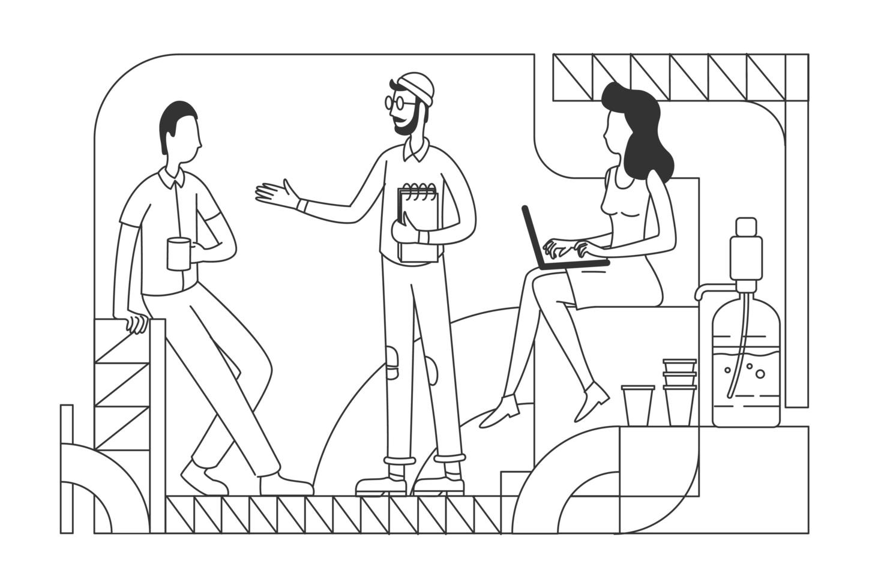 företagsanställda vid kaffepaus tunn linje vektorillustration vektor
